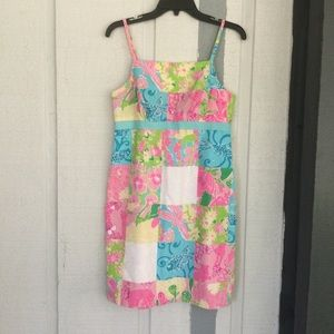 Lilly Pulitzer Sleeveless Tie Back Patchwork Dress